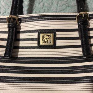 AnnieKlein White and Black Striped Purse